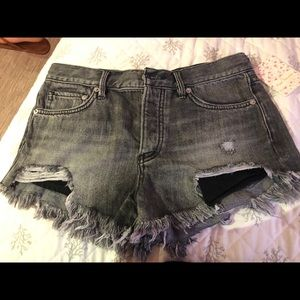 Free People Black Jean Shorts